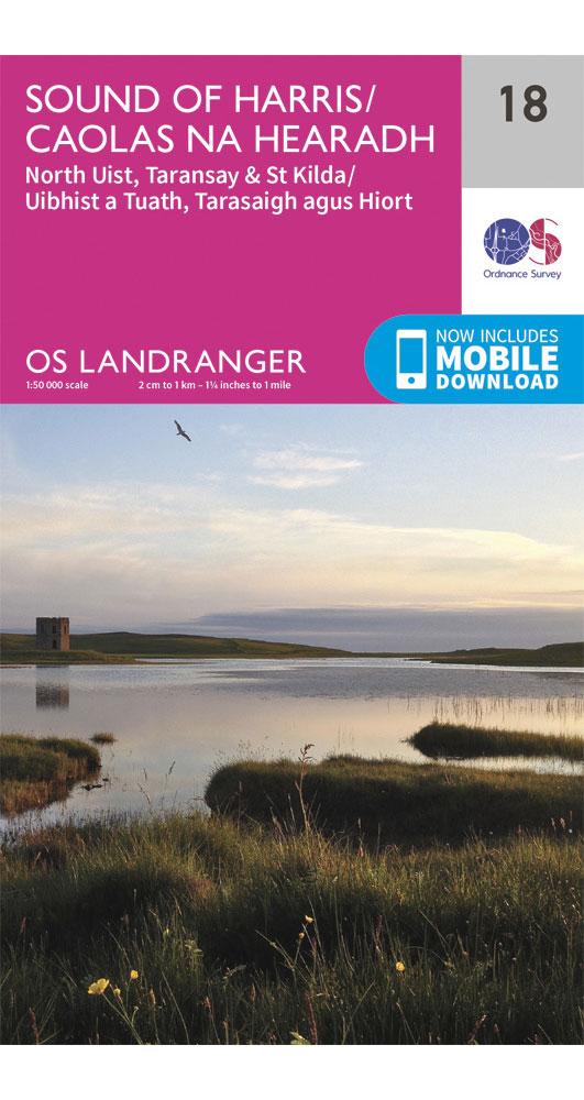Ordnance Survey Sound of Harris, North Uist, Taransay & St Kilda - Landranger 18 OS Map Map 0