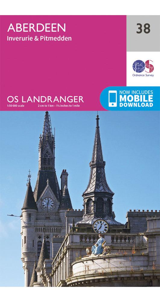Ordnance Survey Aberdeen, Inverurie & Pitmedden - Landranger 38 Map 0