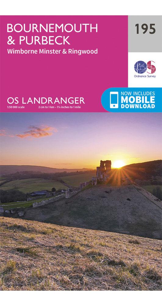 Ordnance Survey Bournemouth, Purbeck, Wimborne Minster & Ringwood - Landranger 195 Map 0
