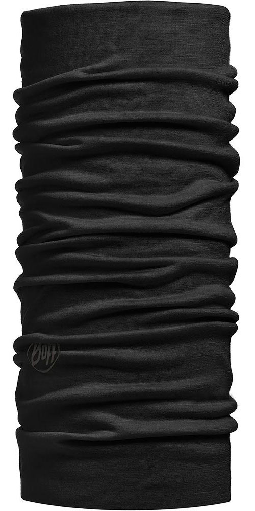 Buff Merino Wool 125 Plain - Solid Black Neck Warmer 0