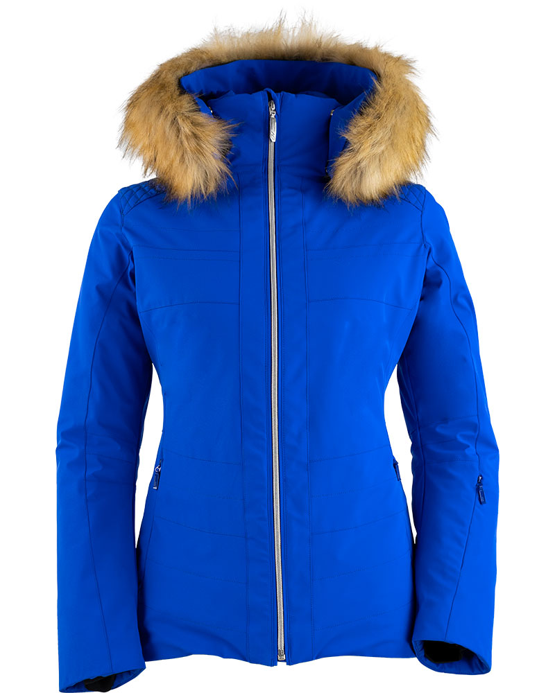 Henri Duvillard Women's Penia Ski Jacket - Faux Fur Deep Blue 0