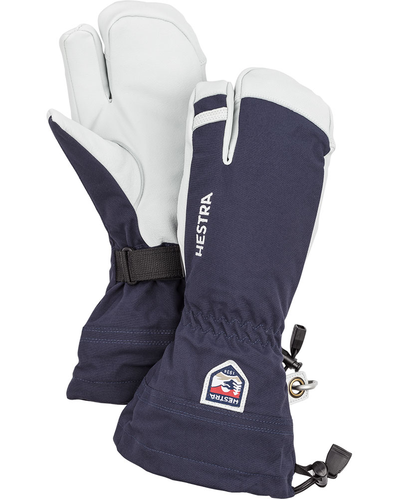 Hestra Men's Army Leather Heli Ski 3 Finger Mittens Navy Blue 0