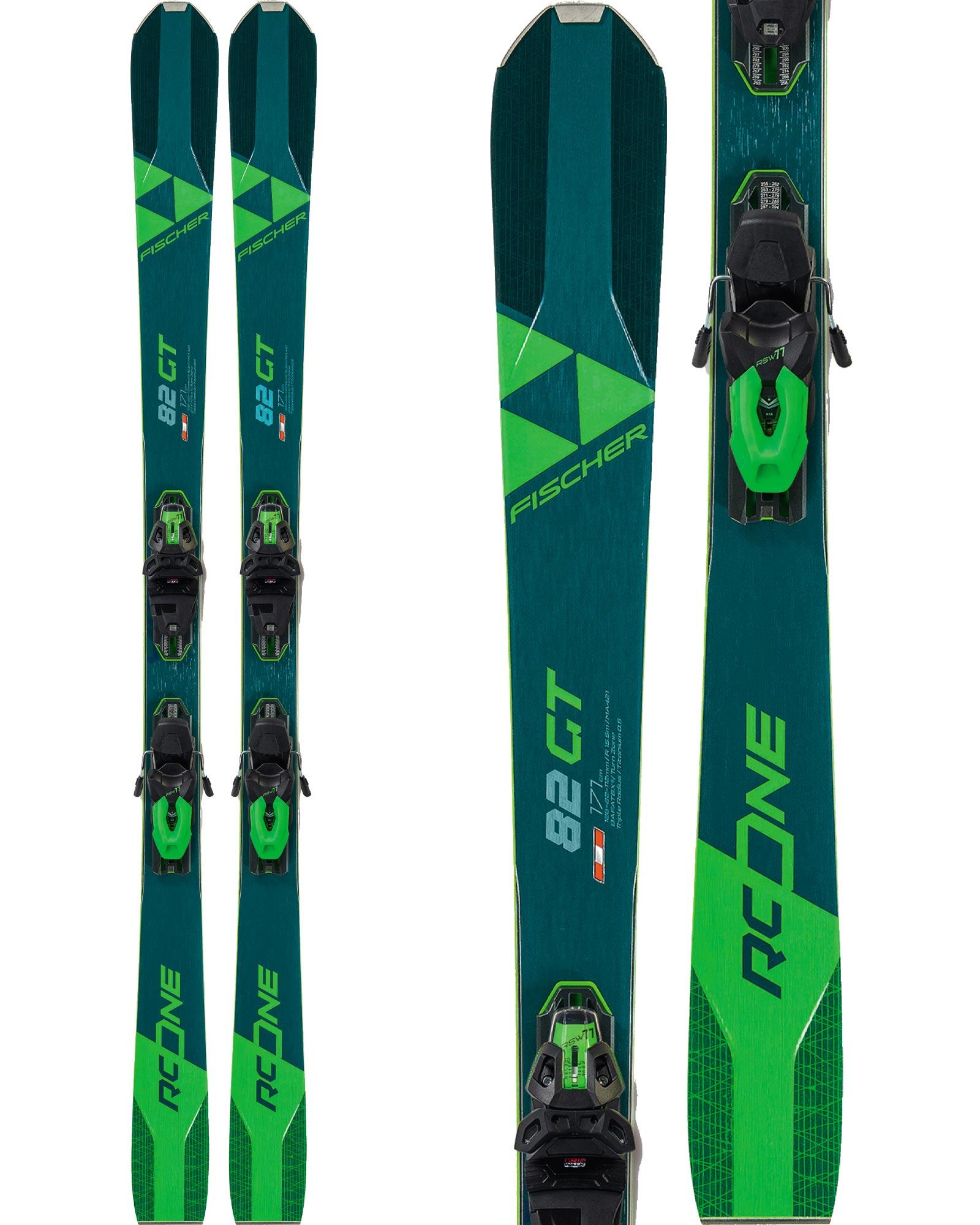 Fischer Men's RC One 82 GT All Mountain Skis + RSW 11 GW Powerrail Brake 85 Bindings 2020 / 2021 0