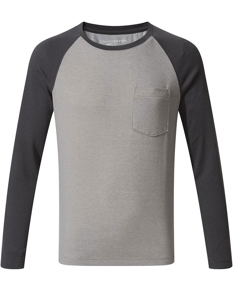 Craghoppers Kids NosiLife Lorenzo L/S T-Shirt Grey Marl/Black Pepper 0