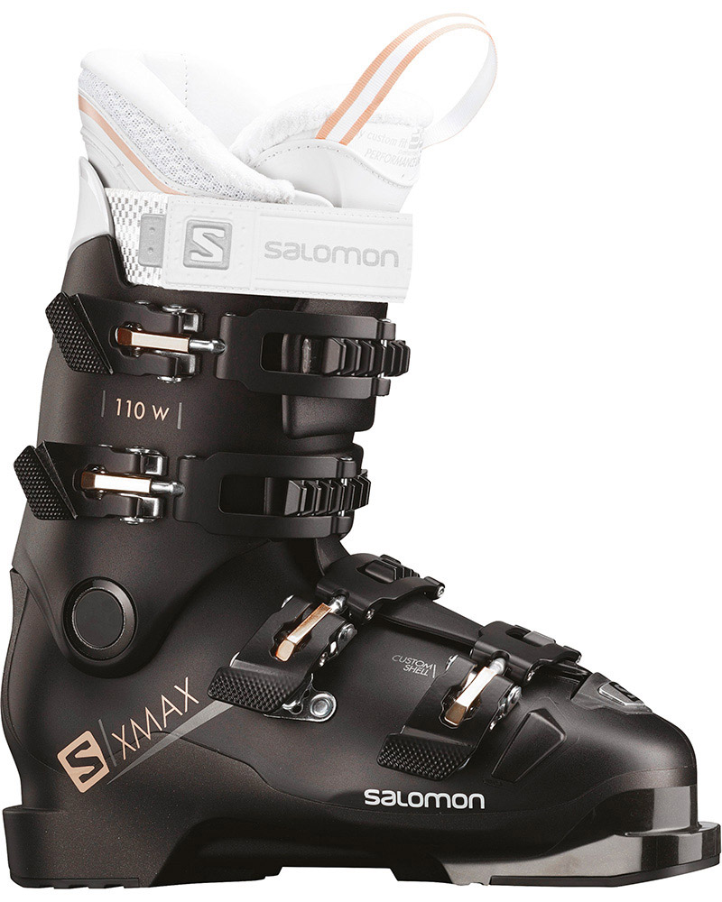 Salomon Women's X MAX 110 W Ski Boots 2018 / 2019 Black/Metallic Black/Corail 0