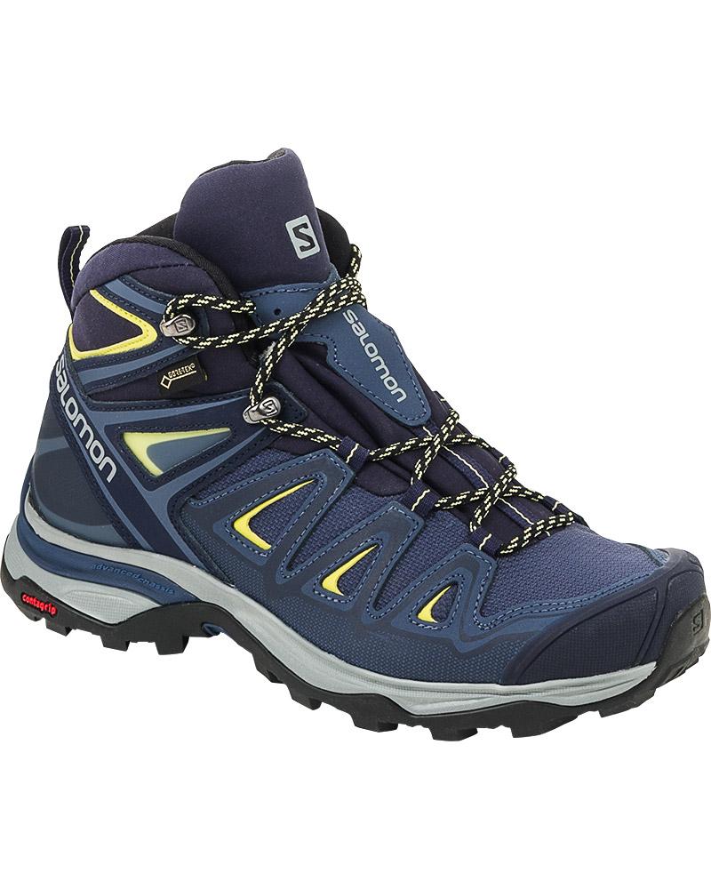 Salomon Women's X Ultra Mid 3 GORE-TEX Walking Boots Crown Blue/Evening Blue/Sunny Lime 0
