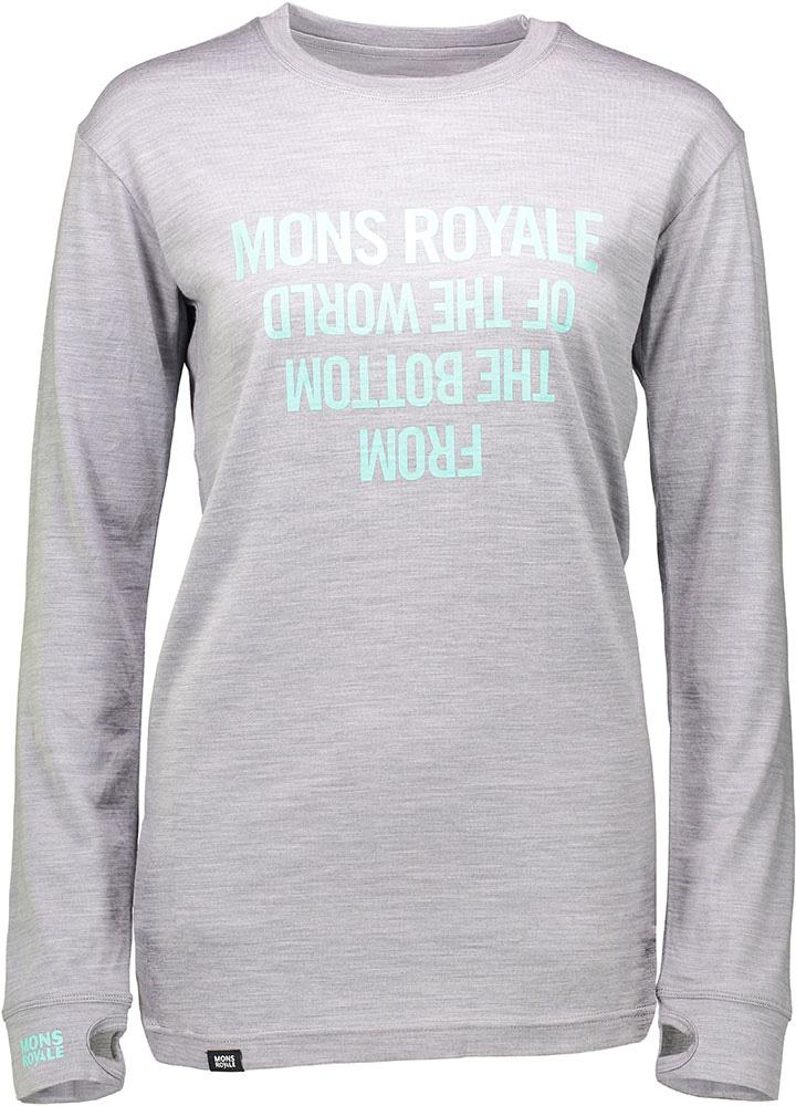 Mons Royale Women's Merino 190 Boyfriend L/S Crew Neon Mint 0