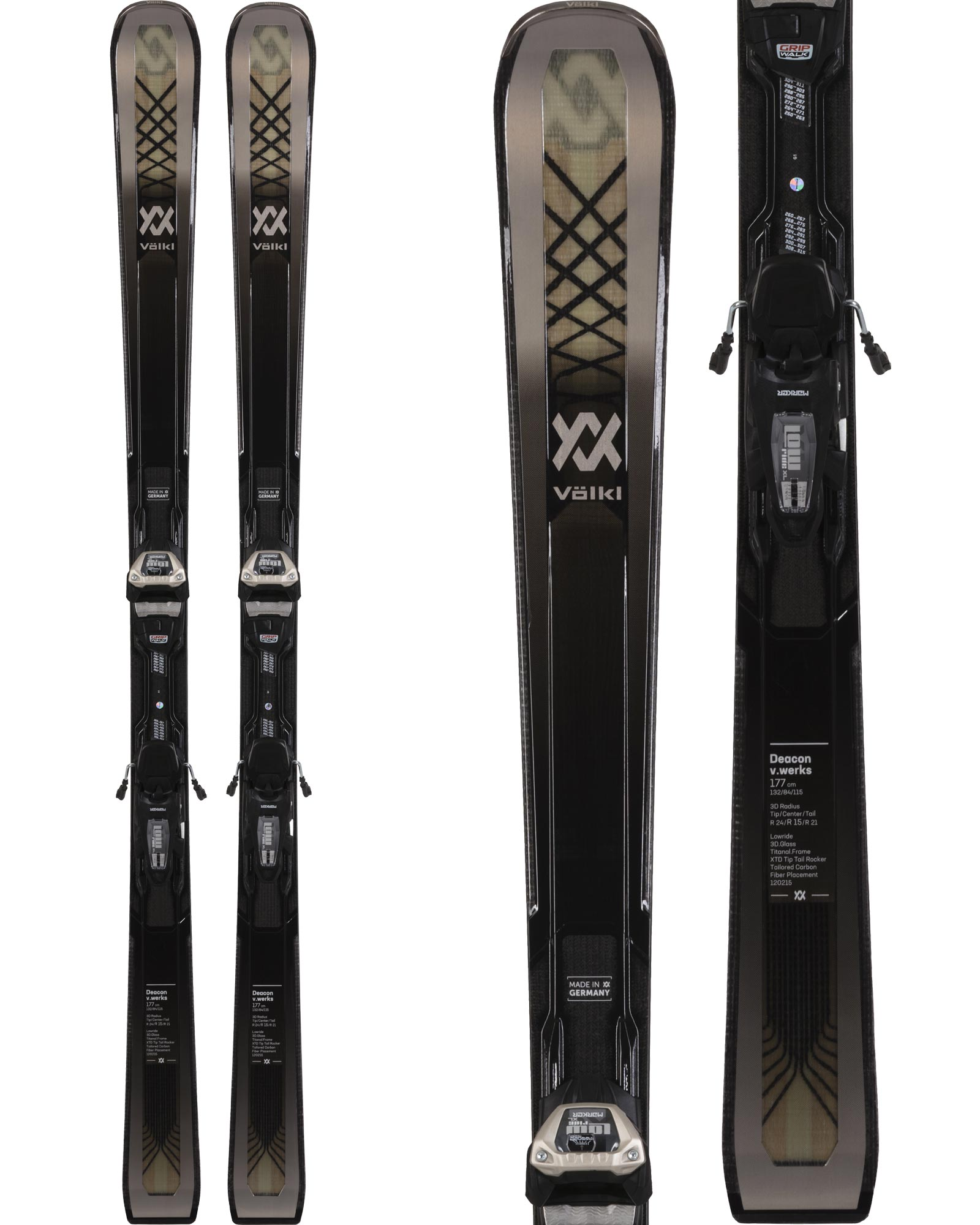 Volkl Men's Deacon V.Werks All Mountain Skis + Lowride XL 13 FR VWerks GW Bindings 2020 / 2021 0