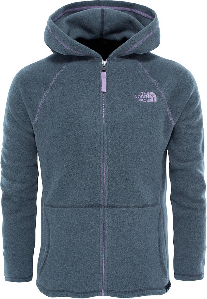 The North Face Girls' Glacier Full Zip Fleece Hoodie Medium Grey 0