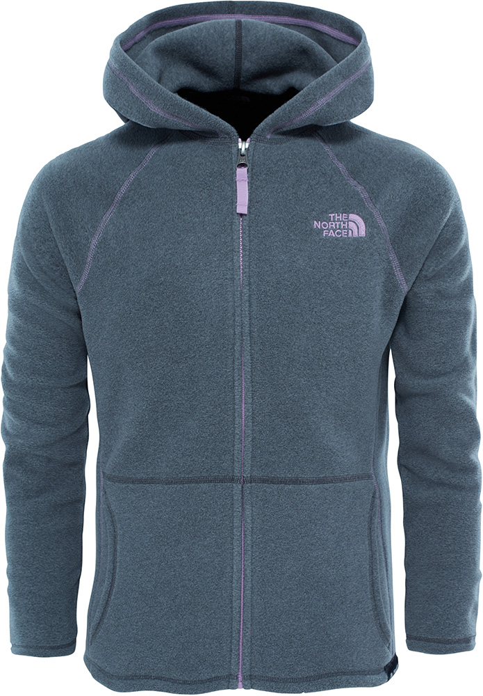 The North Face Girls' Glacier Full Zip Fleece Hoodie XL Medium Grey 0