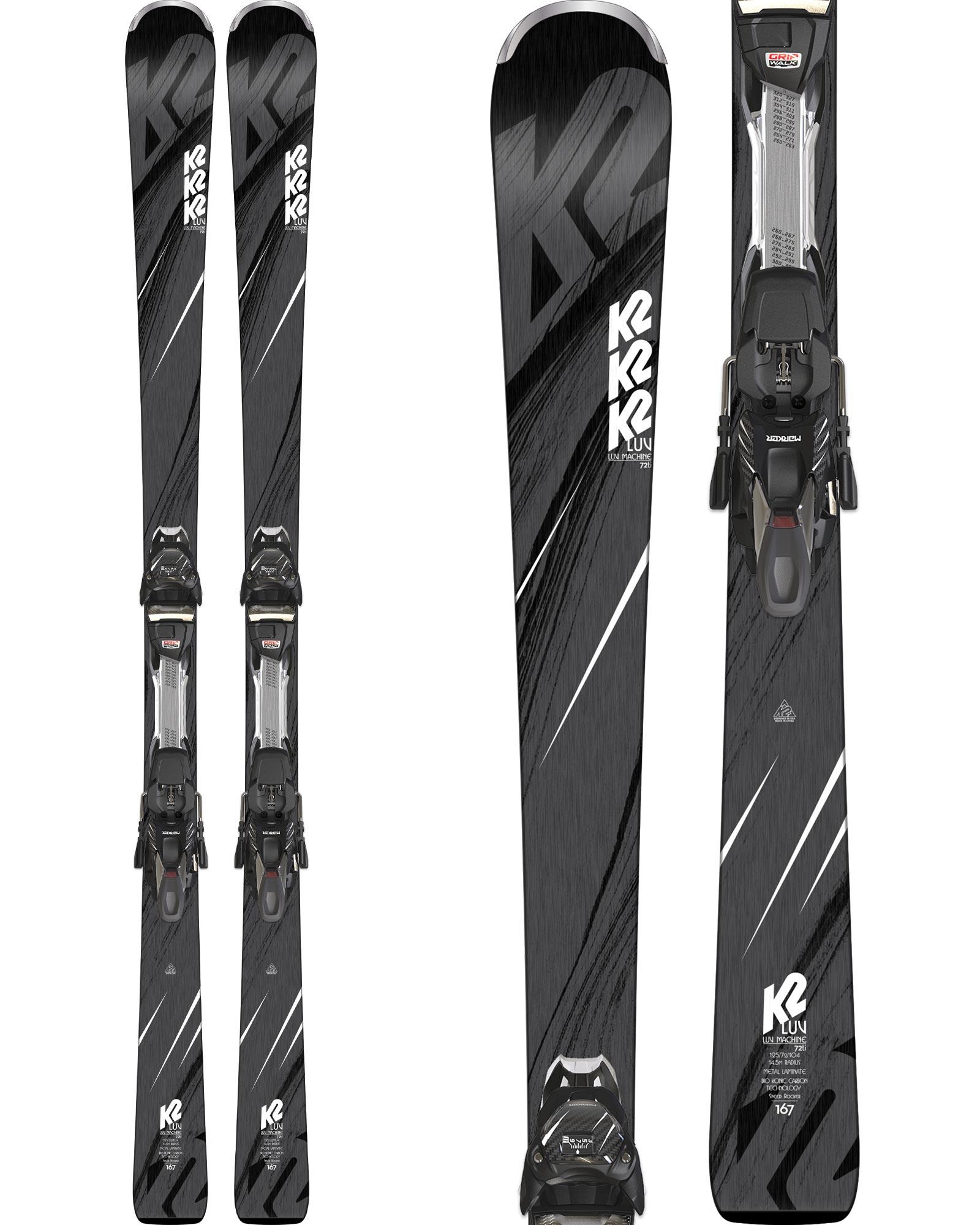 K2 Women's Luv Machine 72Ti Piste Skis + ERC 11TCx Light Quikclik Bindings 2018 / 2019 0
