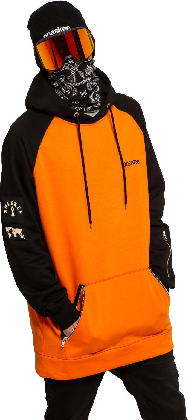 Oneskee Men's Raglan Snow Hoodie - Orange 0