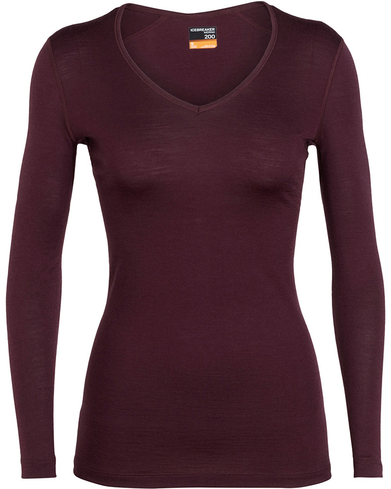 Icebreaker Women's Merino Bodyfit 200 Oasis L/S V Neck 0
