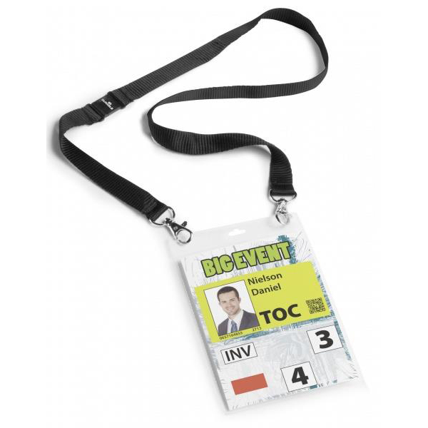 Durable Name Badge with Necklace A6 Black PVC Ref 852501 [Pack 10]