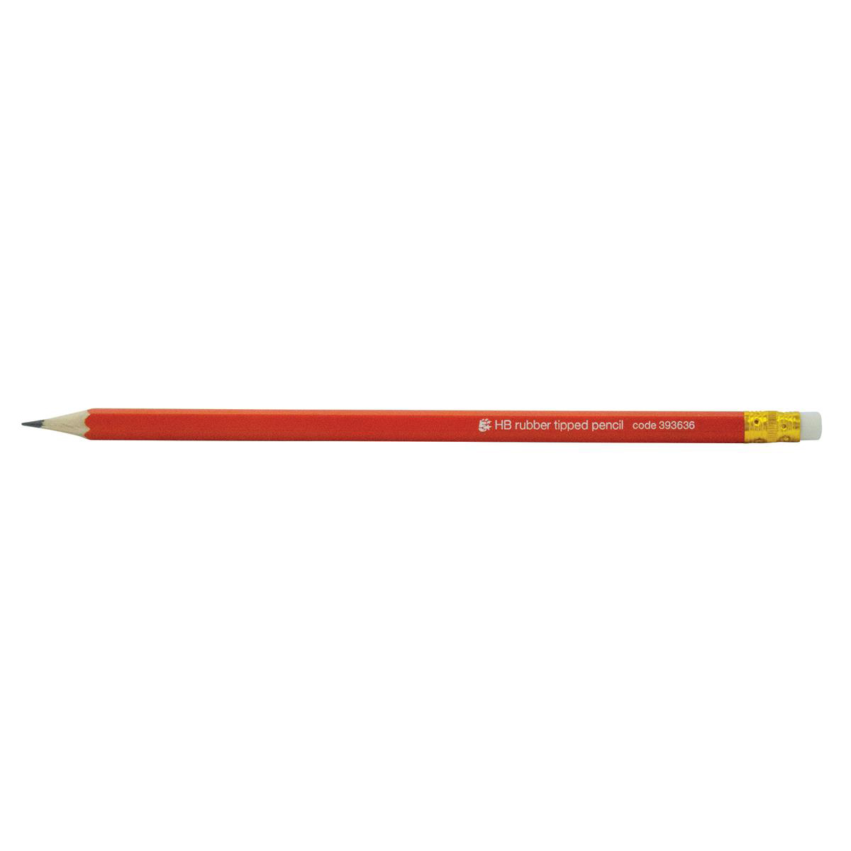 5 Star Office Pencil with Eraser HB Red Barrel [Pack 12]