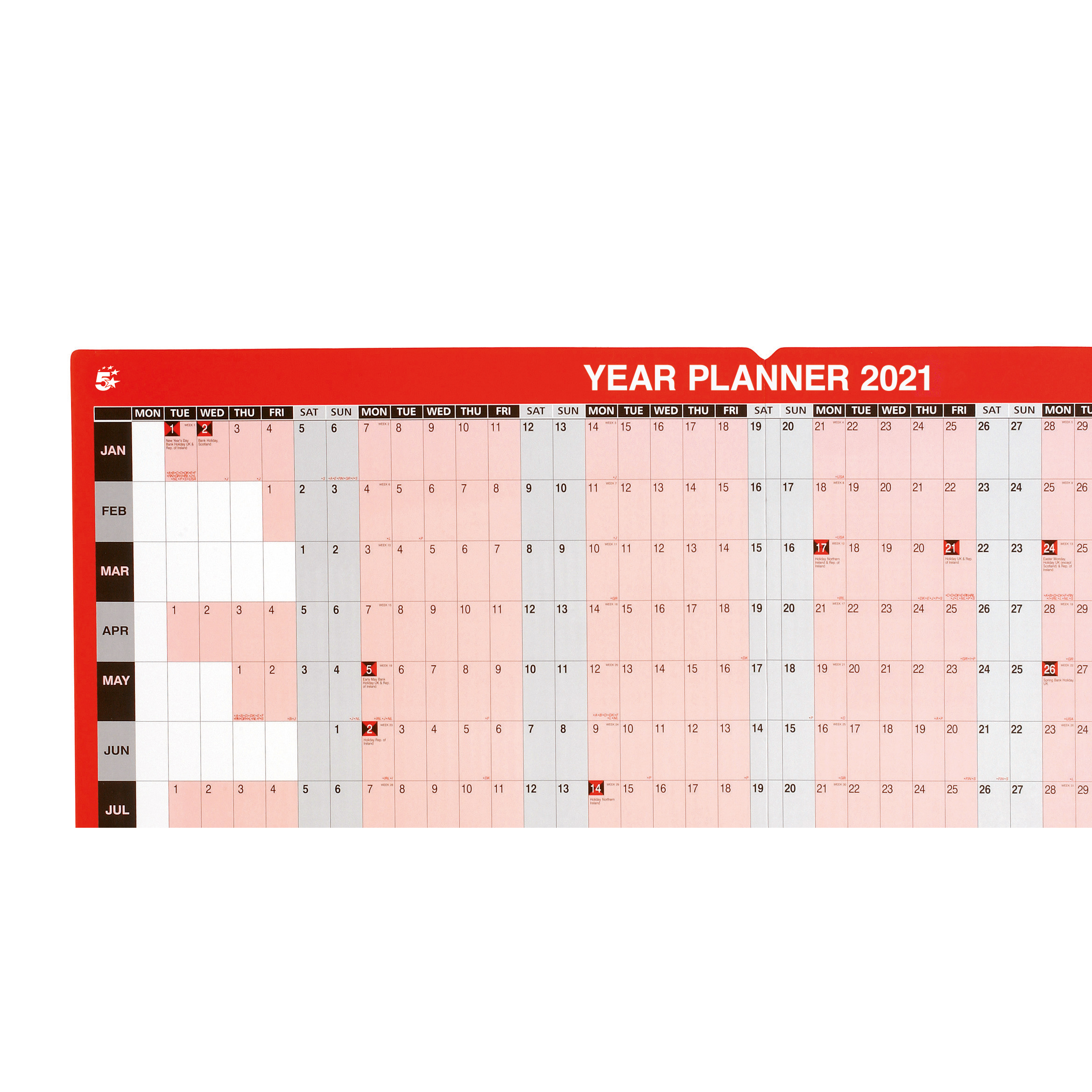 5 Star Office 2021 Year Planner Unmounted Landscape with Planner Kit 915x610mm Red