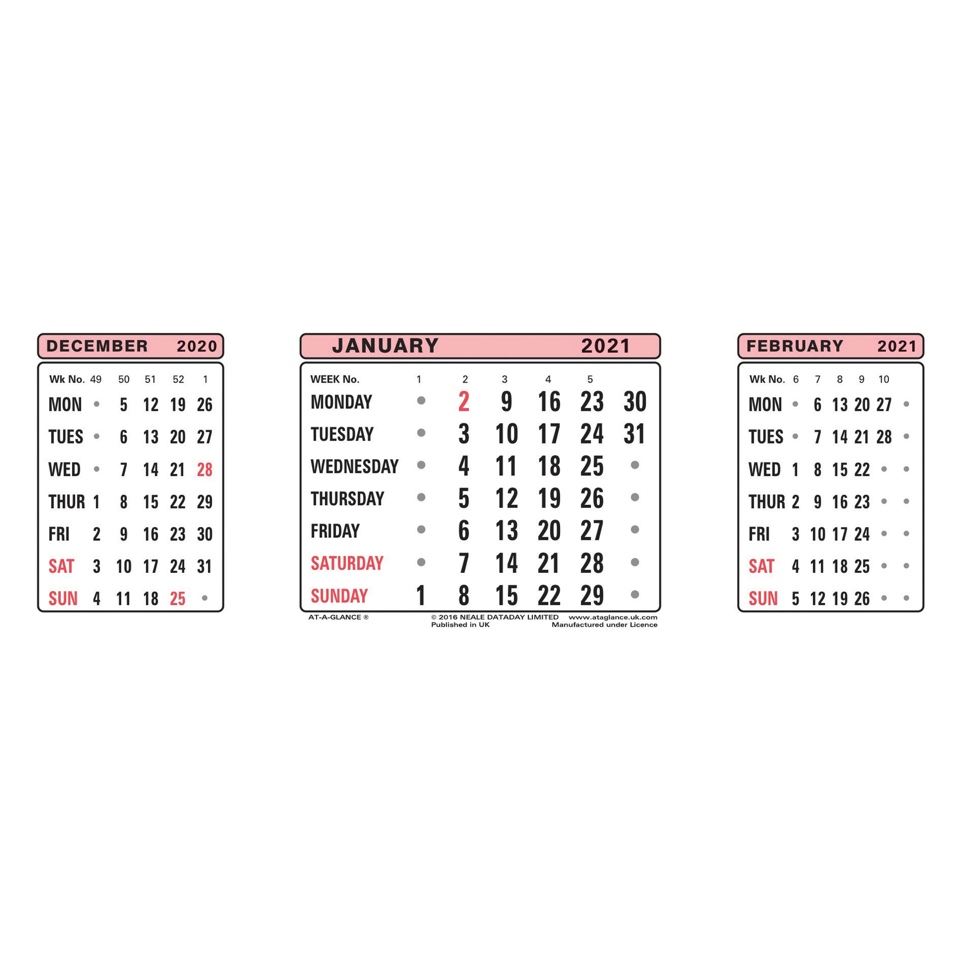 At-A-Glance 2021 Refill Dates for Three Months to View Desk Calendar 210x80mm White Ref 3SR 2021