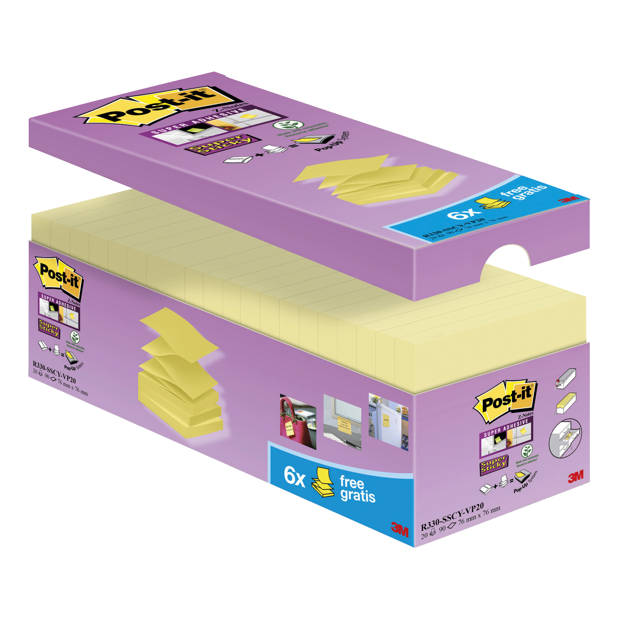 Post-It Super Sticky Z-Notes Value Pack Super Strong 76x76mm Canary Yellow Ref R330-SSCYVP20 [Pack 20]