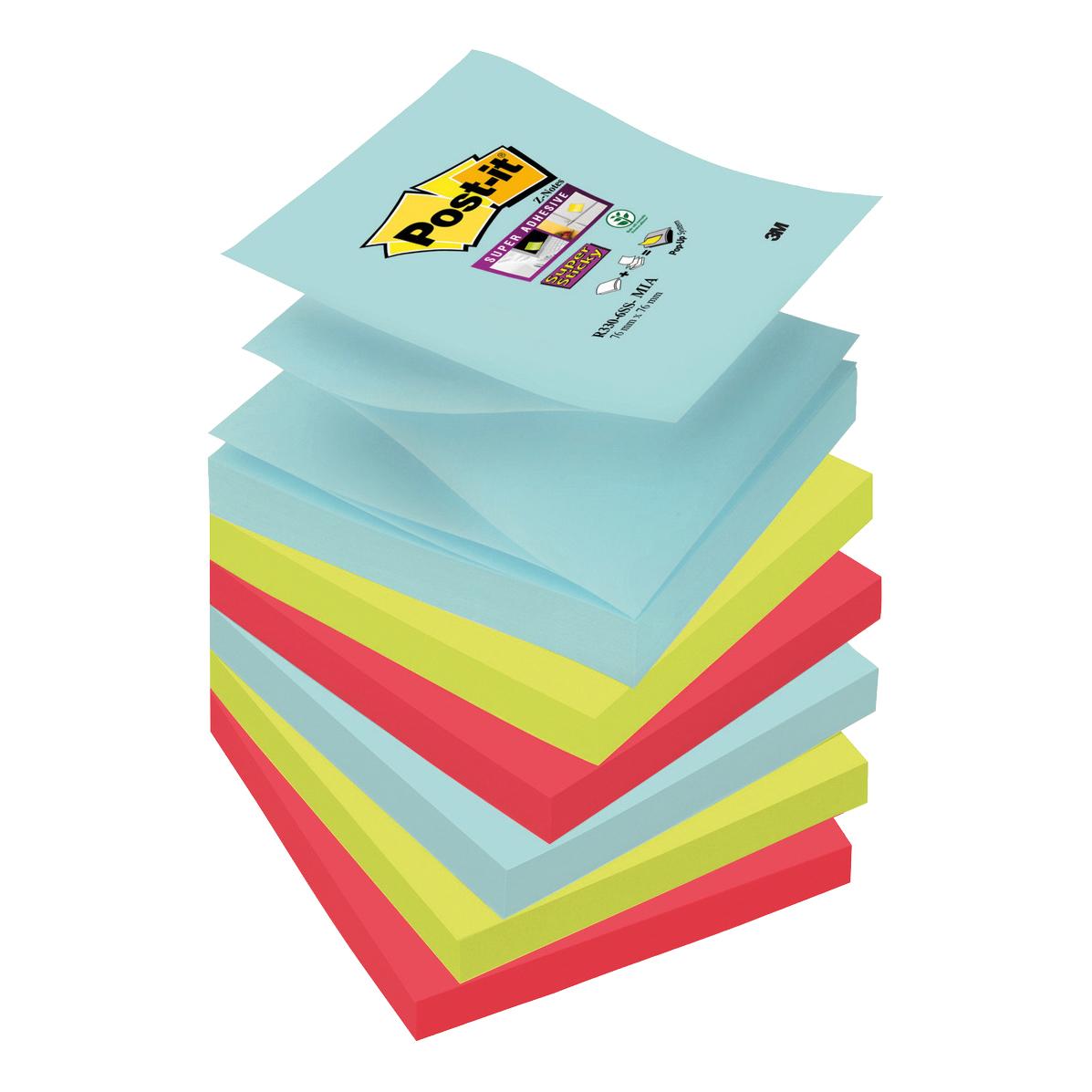 Post-It Super Sticky Z-Notes Miami 76x76mm Aqua Neon Green Pink Poppy Ref R330-6SS-MIA [Pack 6]