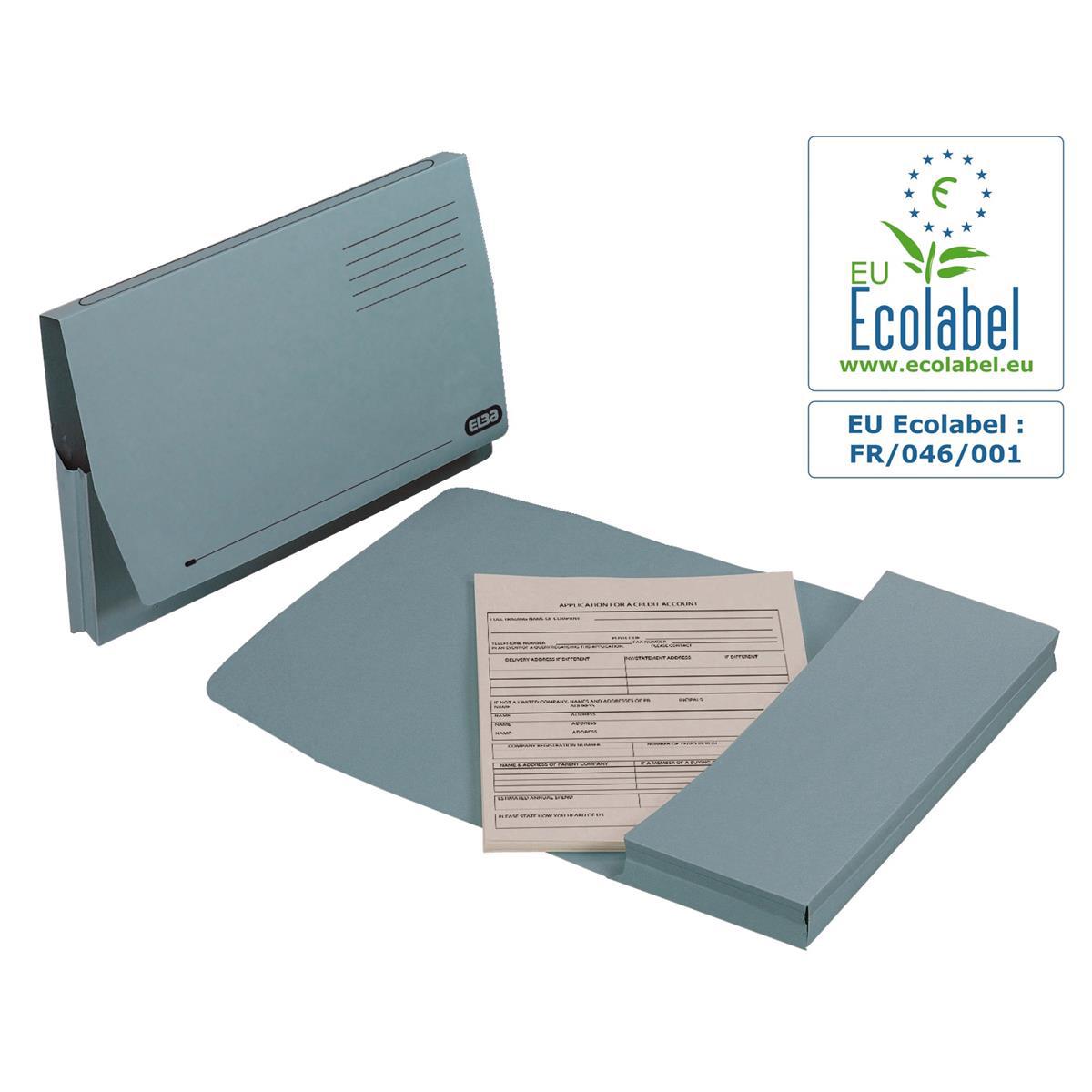 Elba Document Wallet Full Flap 285gsm Capacity 32mm Foolscap Blue Ref 100090131 [Pack 50]