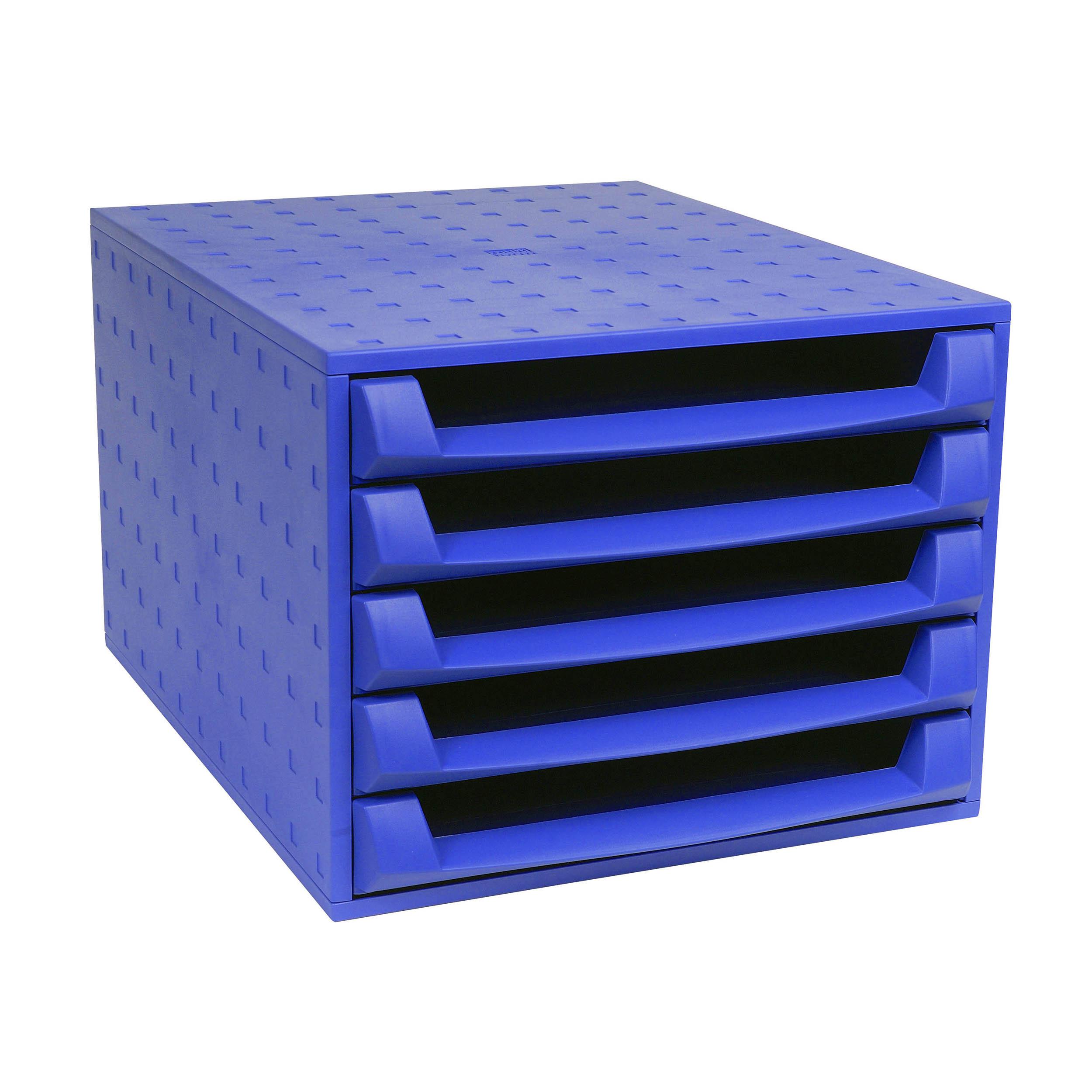 Exacompta Forever 5 Drawer Set Desktop Recycled Plastic W284xD387xH218mm Blue Ref 221101D