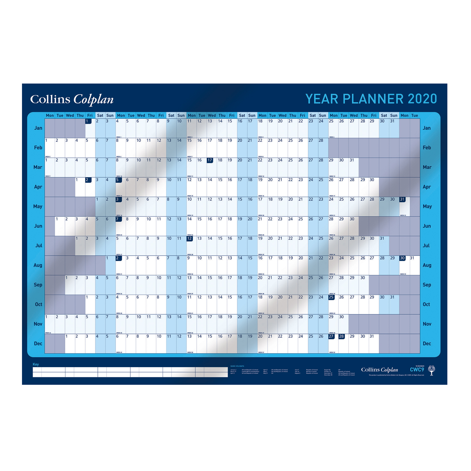 Collins Colplan 2020 Year Wall Planner Landscape Unmounted A1 594x840mm Blue Ref CWC9 2020