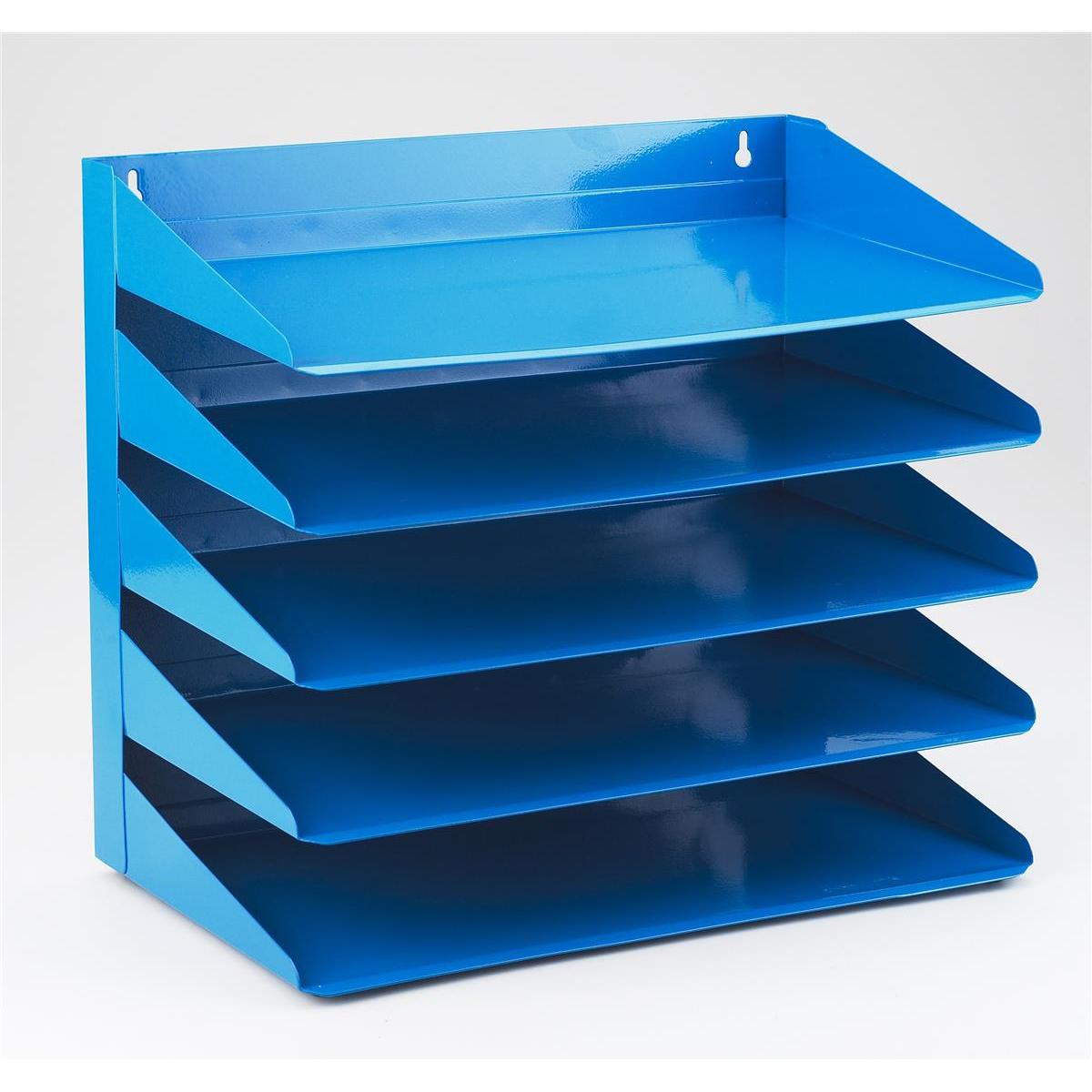 Avery Letter Rack 5-Tier Steel W380xD230xH335mm Blue Ref 605SBLUE
