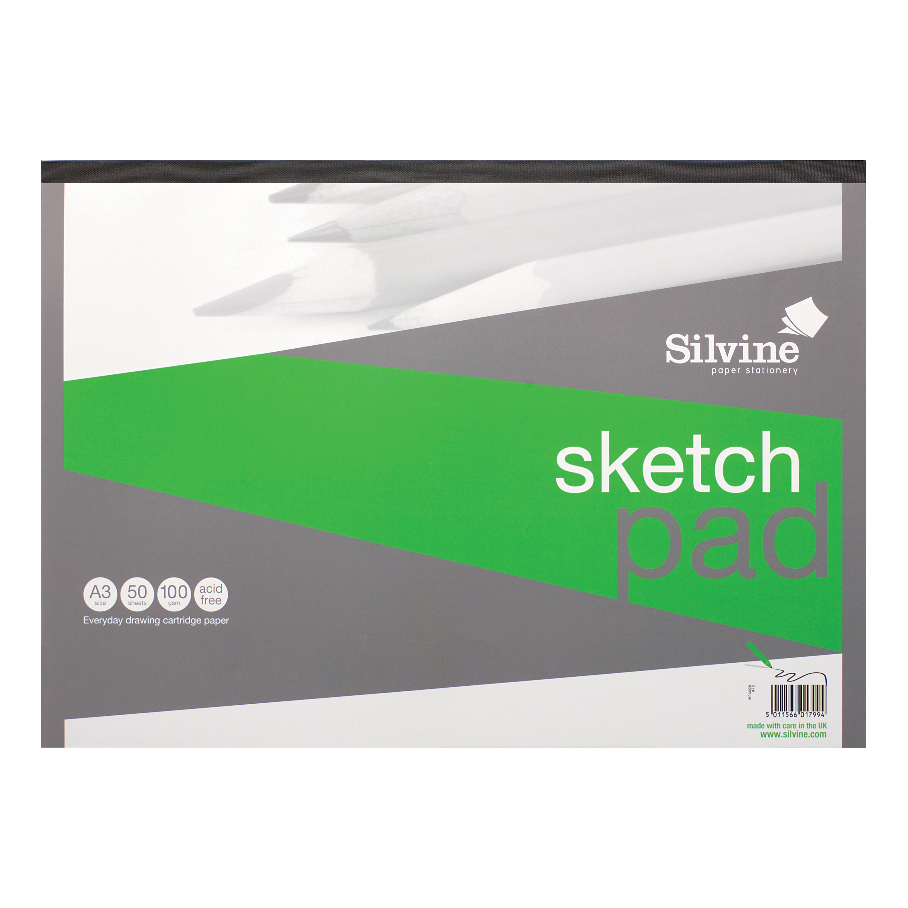 Silvine Popular Drawing Pad Acid Free Cartridge Paper 100gsm 50 Sheets A3
