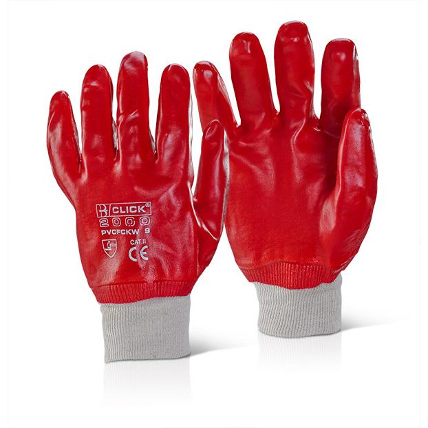 Click 2000 Pvc Gloves - Pvc F/Coated K/Wrist Red Sz 8 Pk 100