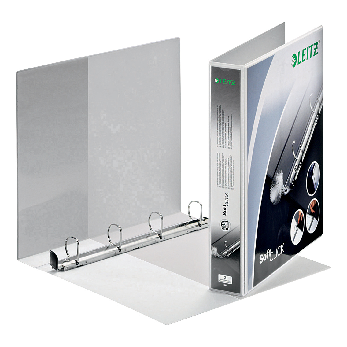 Leitz Softclick Presentation Ring Binder Polypropylene 4 D-Ring 30mm A4 White Ref 42020001 [Pack 6]