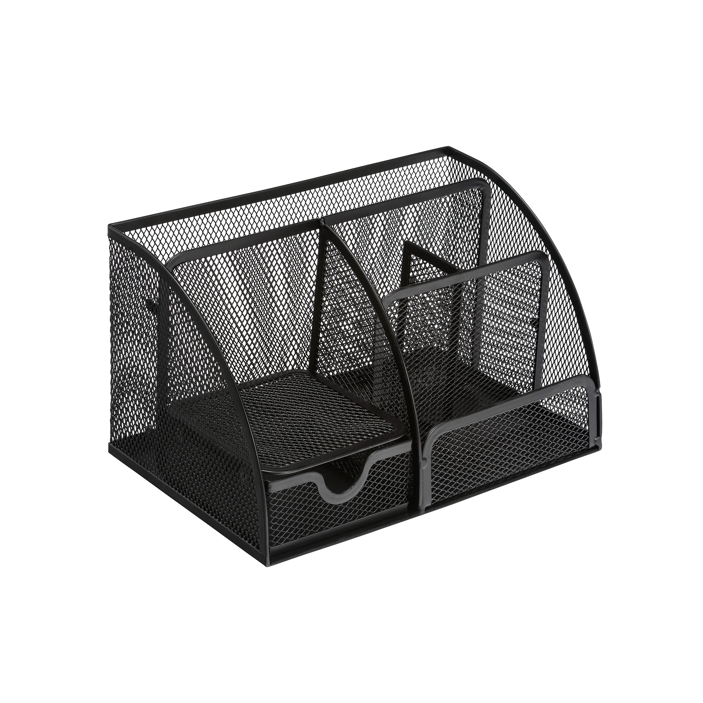 5 Star Office Desk Organiser Mesh Scratch Resistant with Non Marking Rubber Pads Black