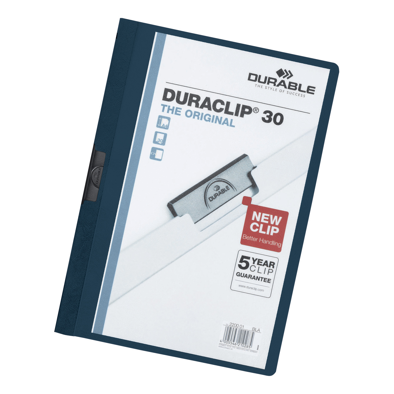 Durable Duraclip Folder PVC Clear Front 3mm Spine for 30 Sheets A4 Midnight Blue Ref 2200/28 [Pack 25]