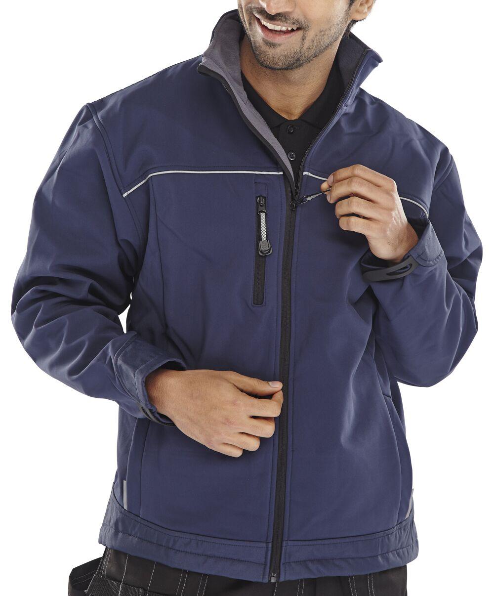 Poly-Cotton Workwear - Soft Shell Jacket Navy Xxl