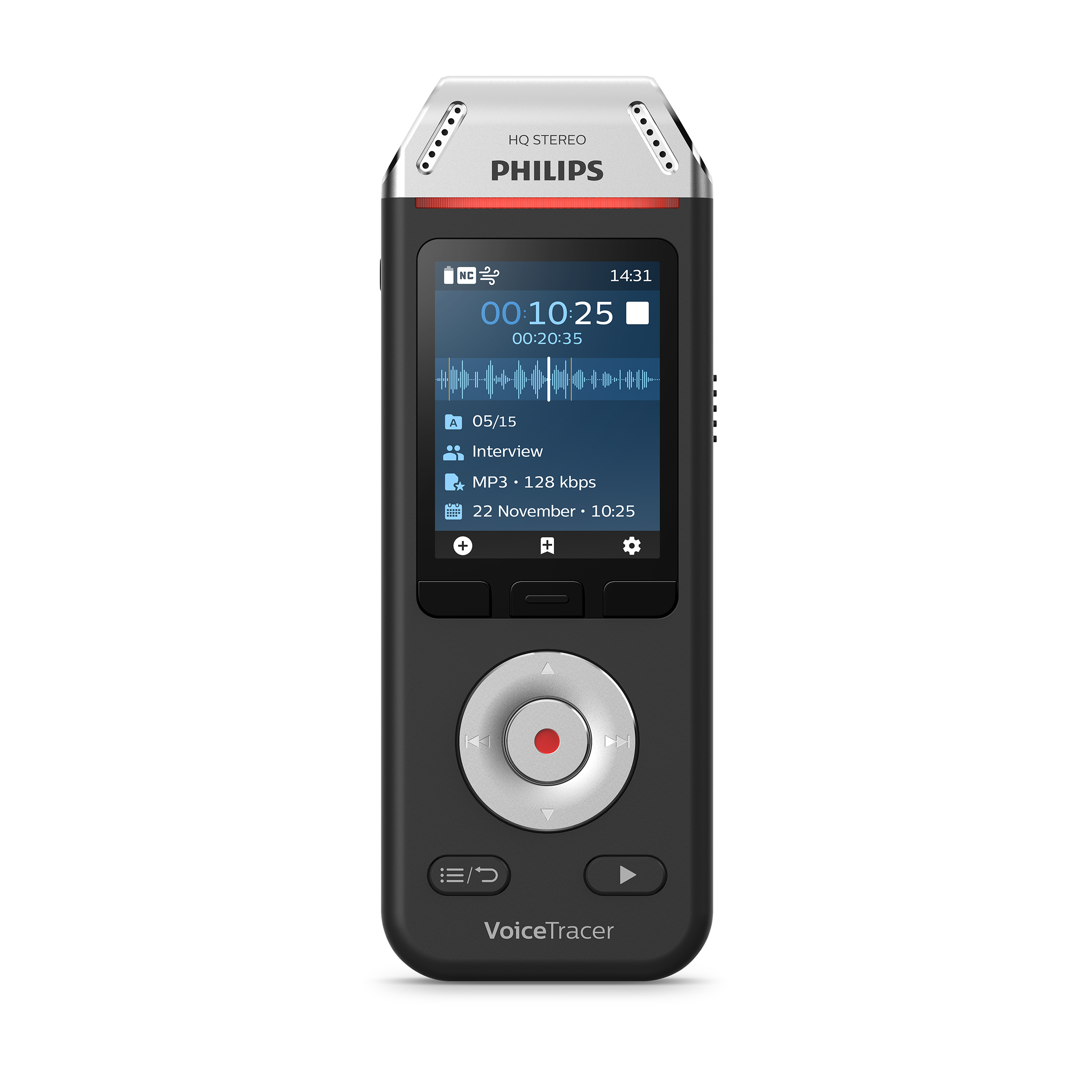Philips DVT2110 VoiceTracer Recorder Colour Display 8GB USB-C Connection Ref DVT2110/00