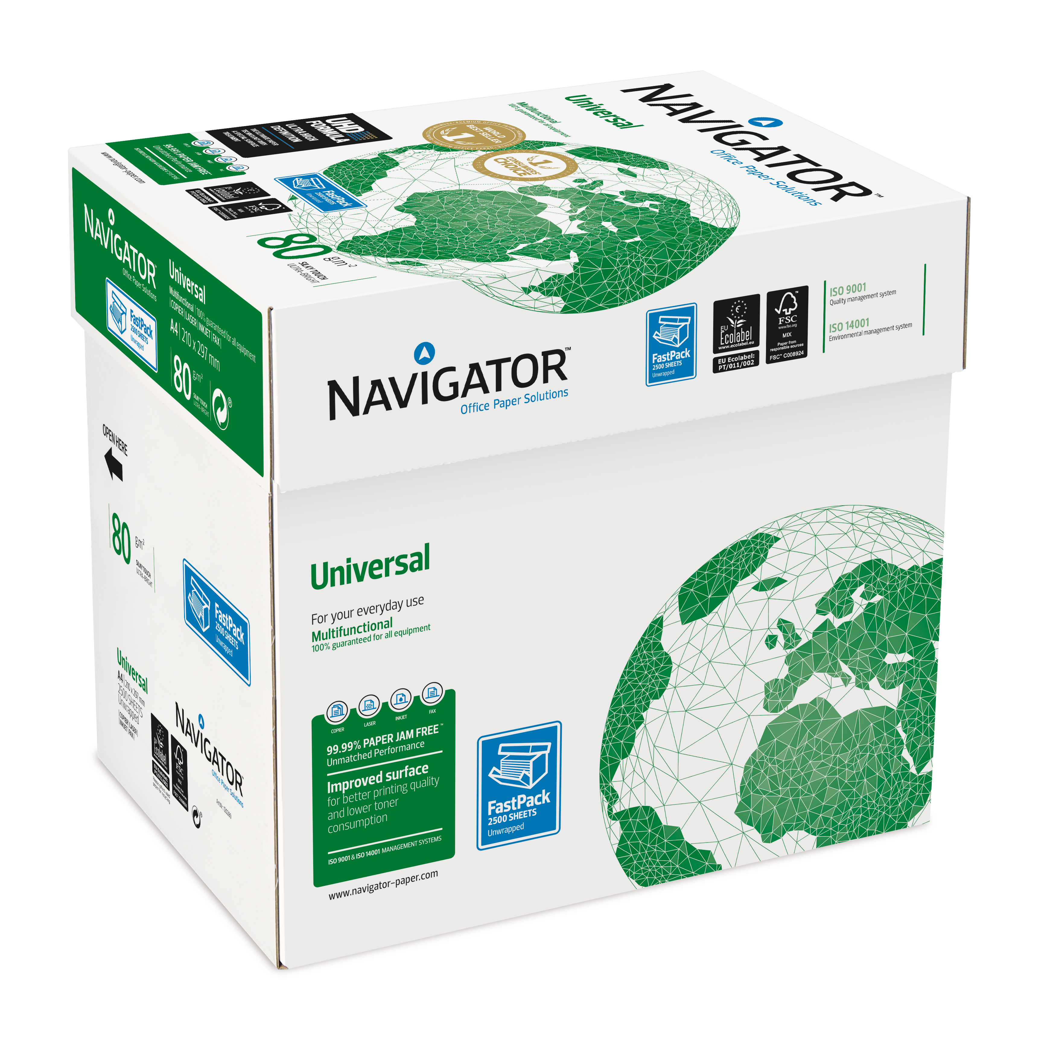 Navigator Universal Paper Multifunctional 80gsm A4 Fast PackWht Ref127565[2500Shts]