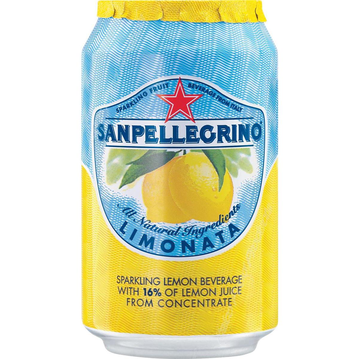 San Pellegrino Sparkling Lemon Citrus Soft Drink 330ml Can Ref N004002 [Pack 24]