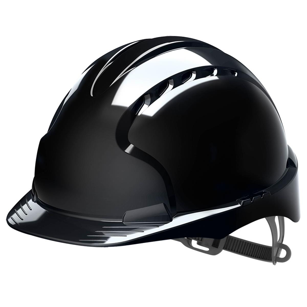 JSP EVO2 Safety Helmet HDPE 6-point Polyethylene Harness EN397 Standard Black Ref AJF030-001-1G1