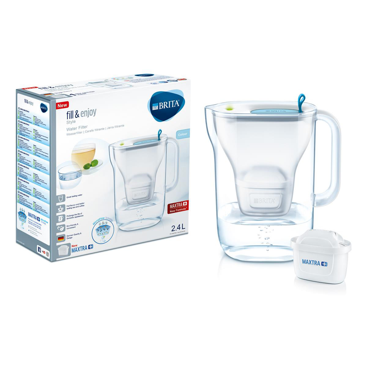 Brita Maxtra Plus Style Water Filtering Jug Cool Blue Ref