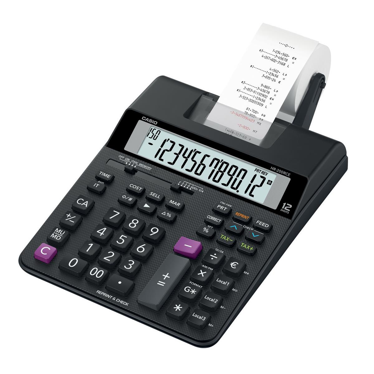 Casio Desktop Printing Calculator 12 Digit Display 2 Colour Printing 195x65x313mm Black Ref HR-200RCE