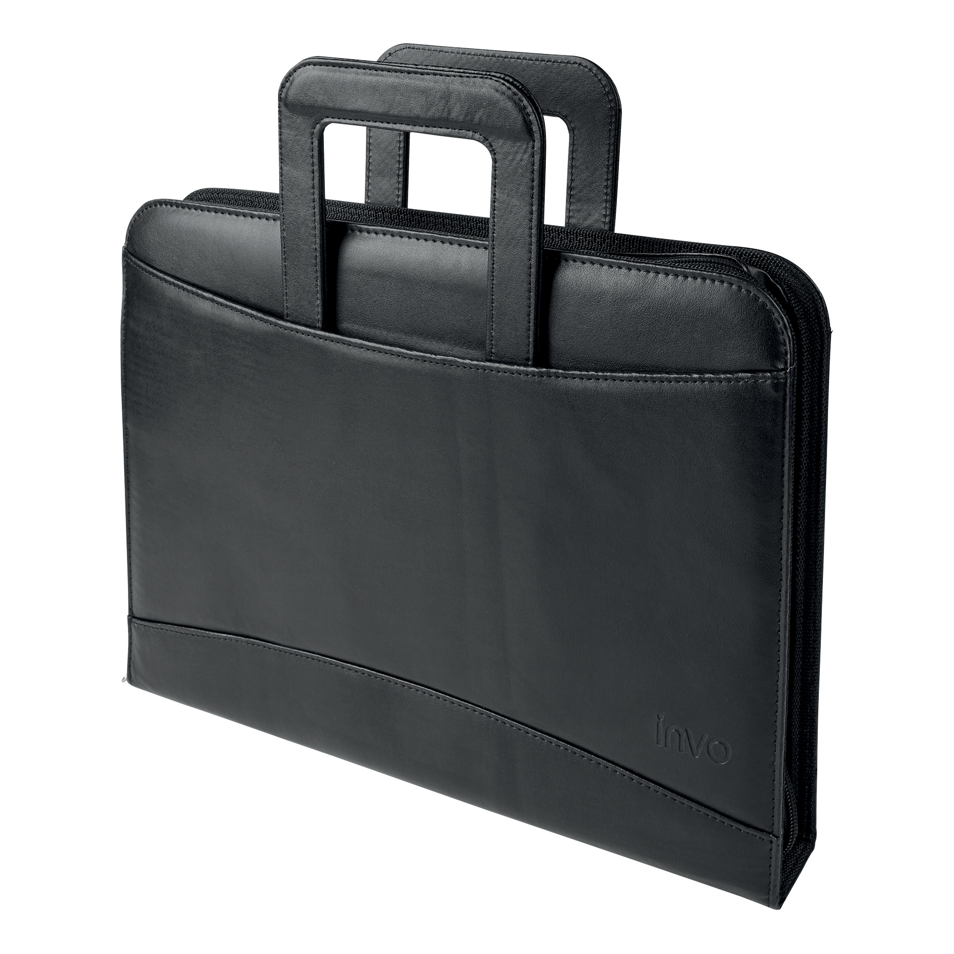 5 Star Office Zipped Conference Ring Binder with Handles Capacity 60mm Leather Look A4 Black