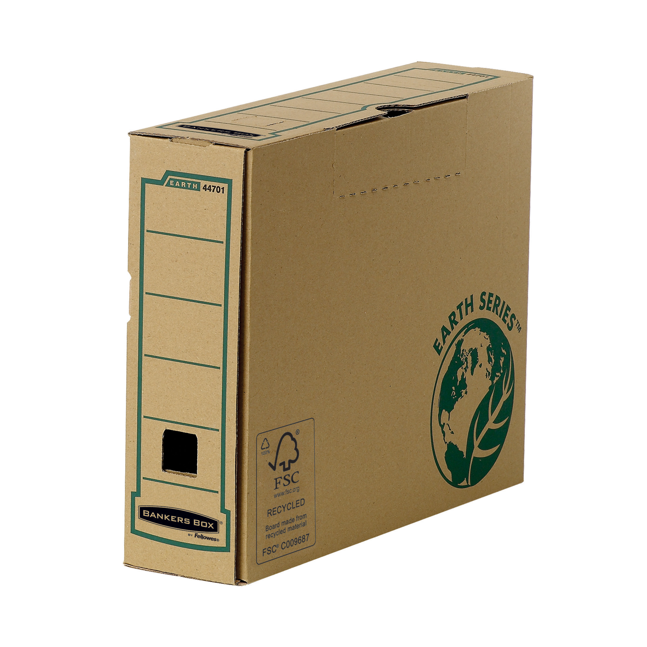 Bankers Box by Fellowes Earth Srs Transfer Bx File Rcyc FSC Tab Lock Lid W80mm A4 Ref 4470101 [Pack 20]
