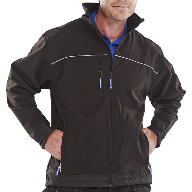 Poly-Cotton Workwear - Soft Shell Jacket Black Sml