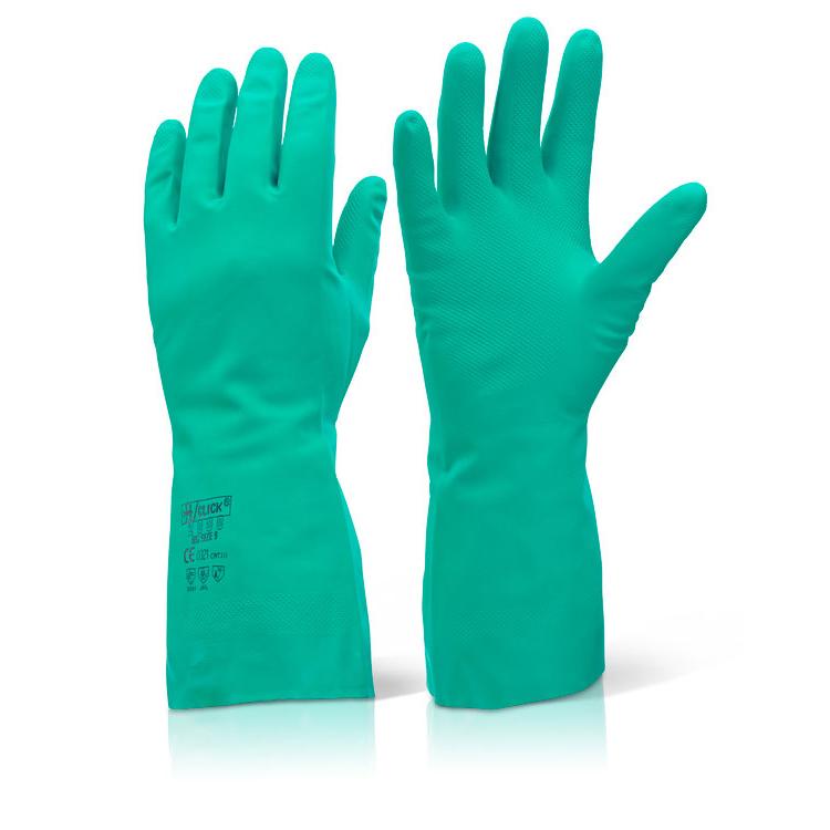Click 2000 Rubber Gloves - Nitrile Green S (7) Pk10