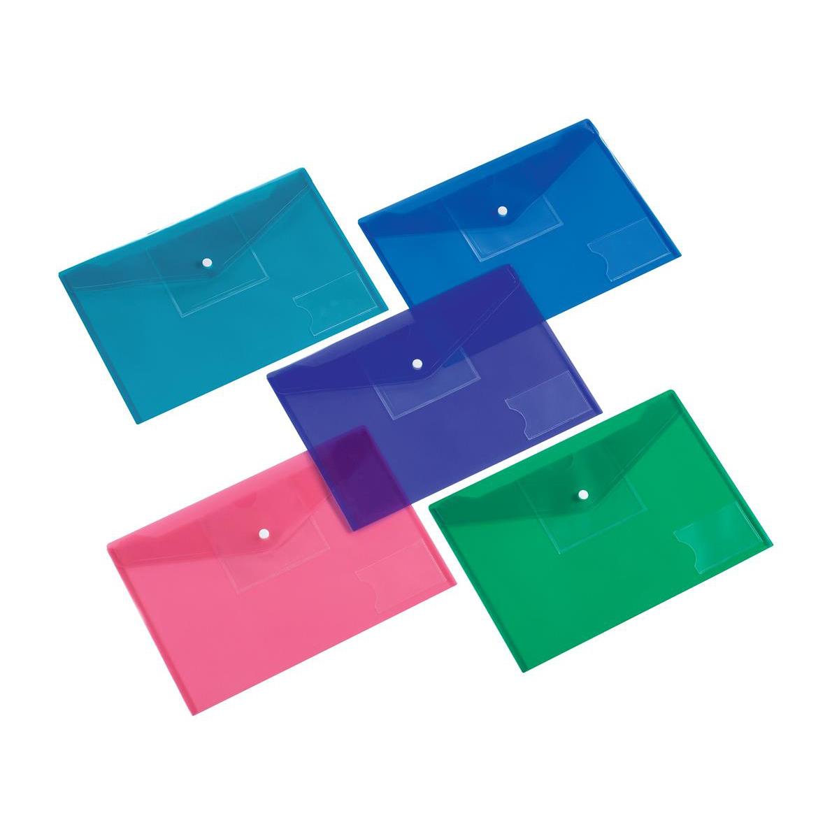 5 Star Office Envelope Stud Wallet Front Pocket for Diskette A4 Assorted [Pack 5]