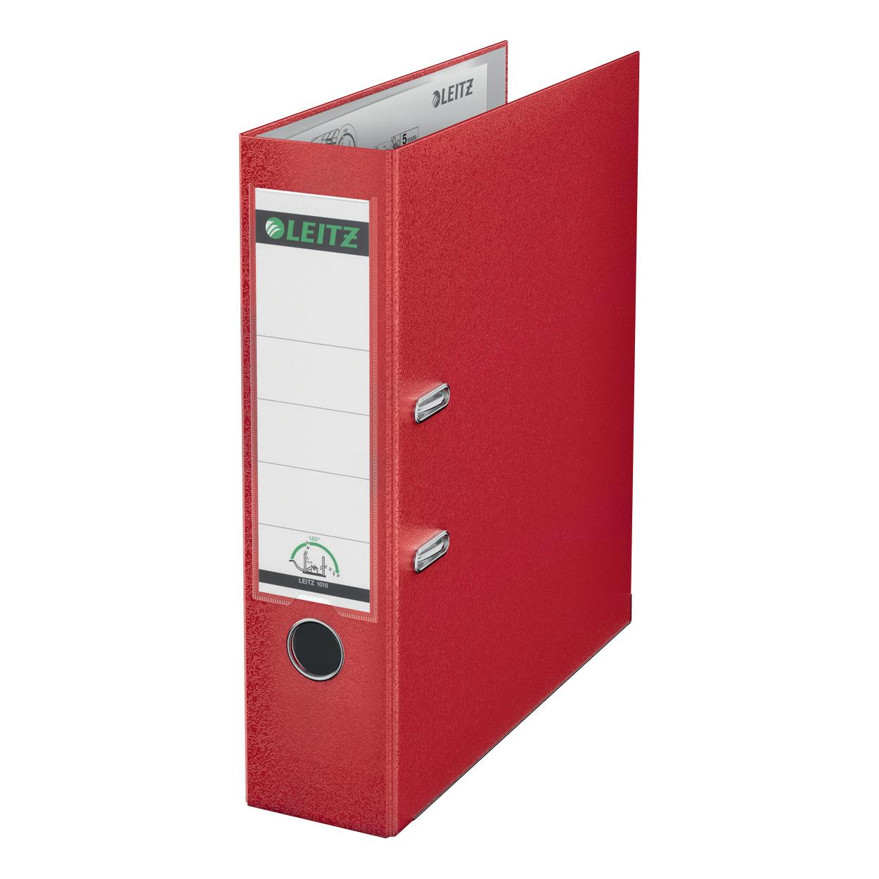 Leitz FSC Lever Arch File Plastic 80mm Spine Foolscap Red Ref 11101025 [Pack 10]