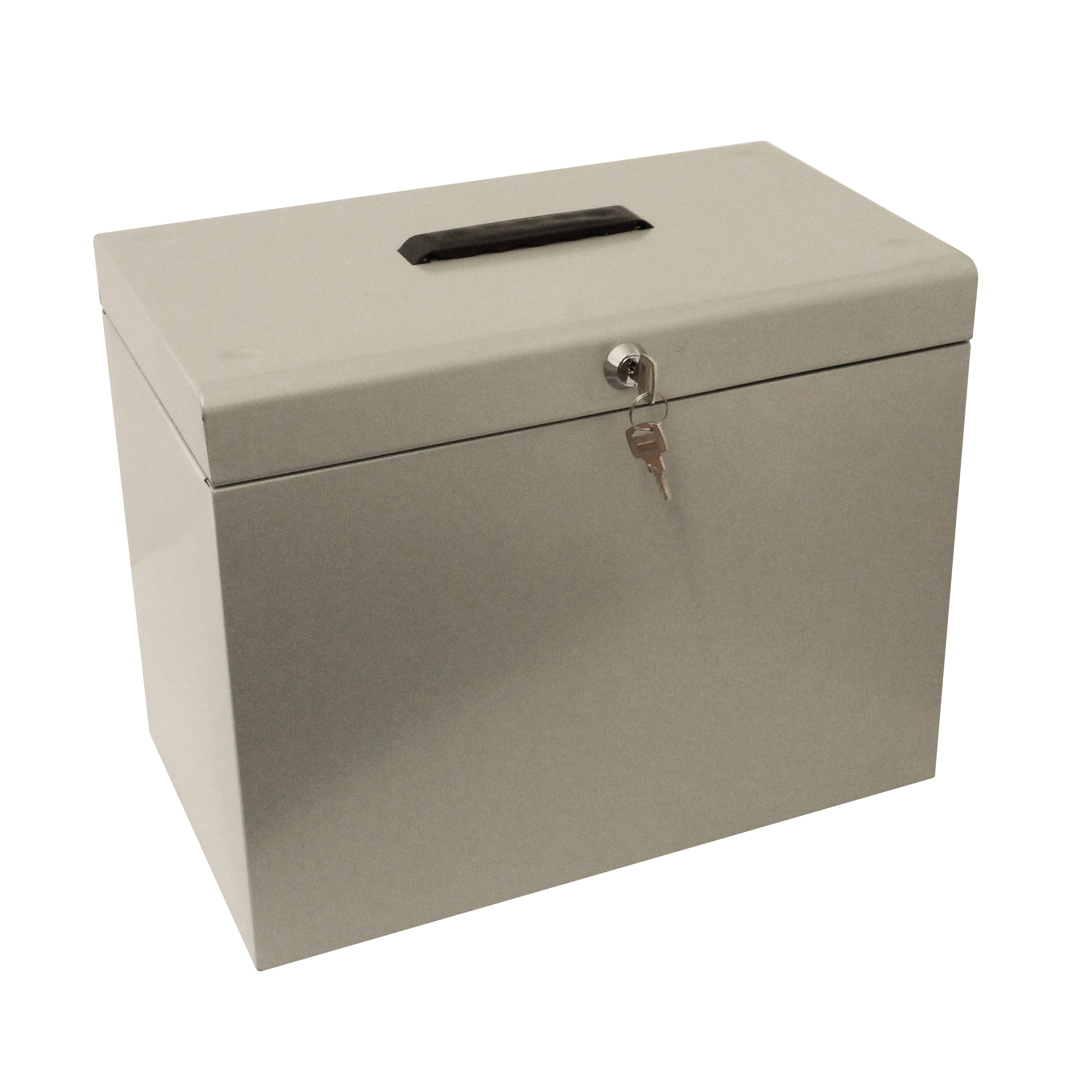 Metal File Box with 5 Suspension Files and 2 Keys Steel A4 Silver