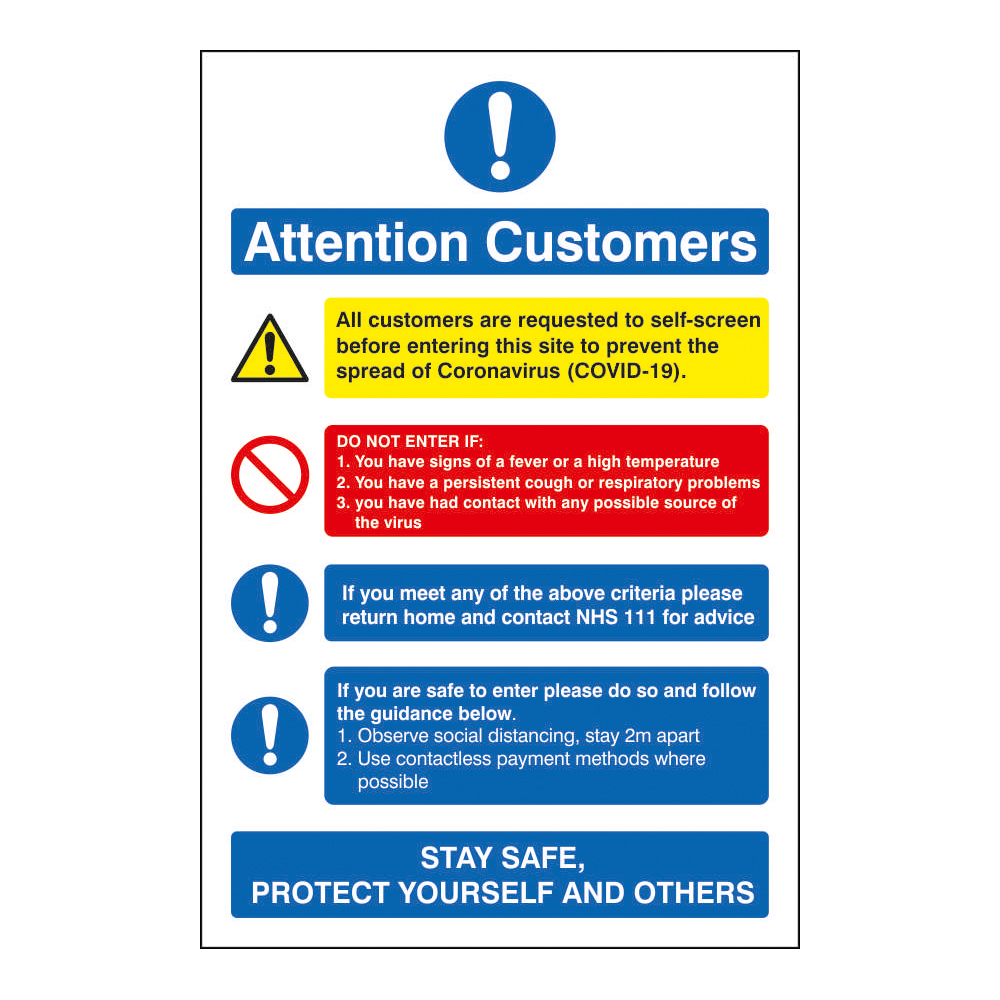Image for Attention Customers COVID19 Action Notice 200x300mm Semi Rigid Plastic