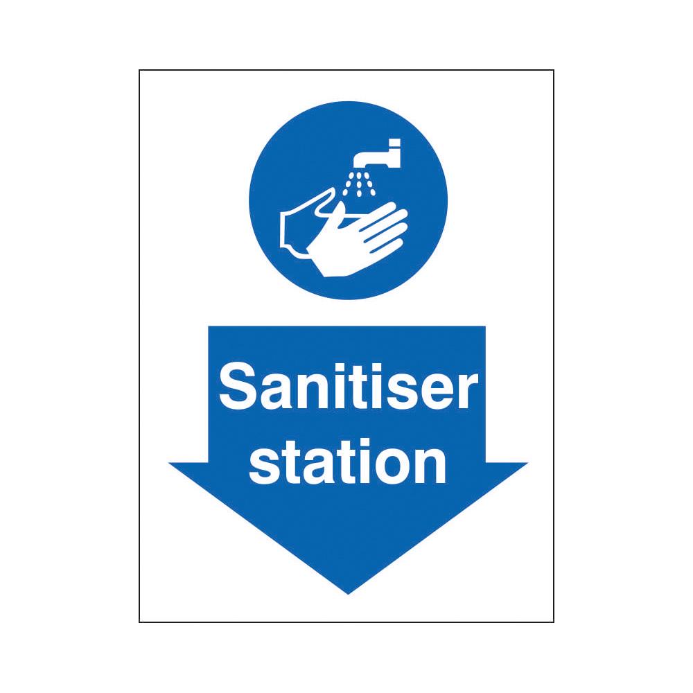 Sanitiser Station Sign 200x300mm Self Adhesive Vinyl