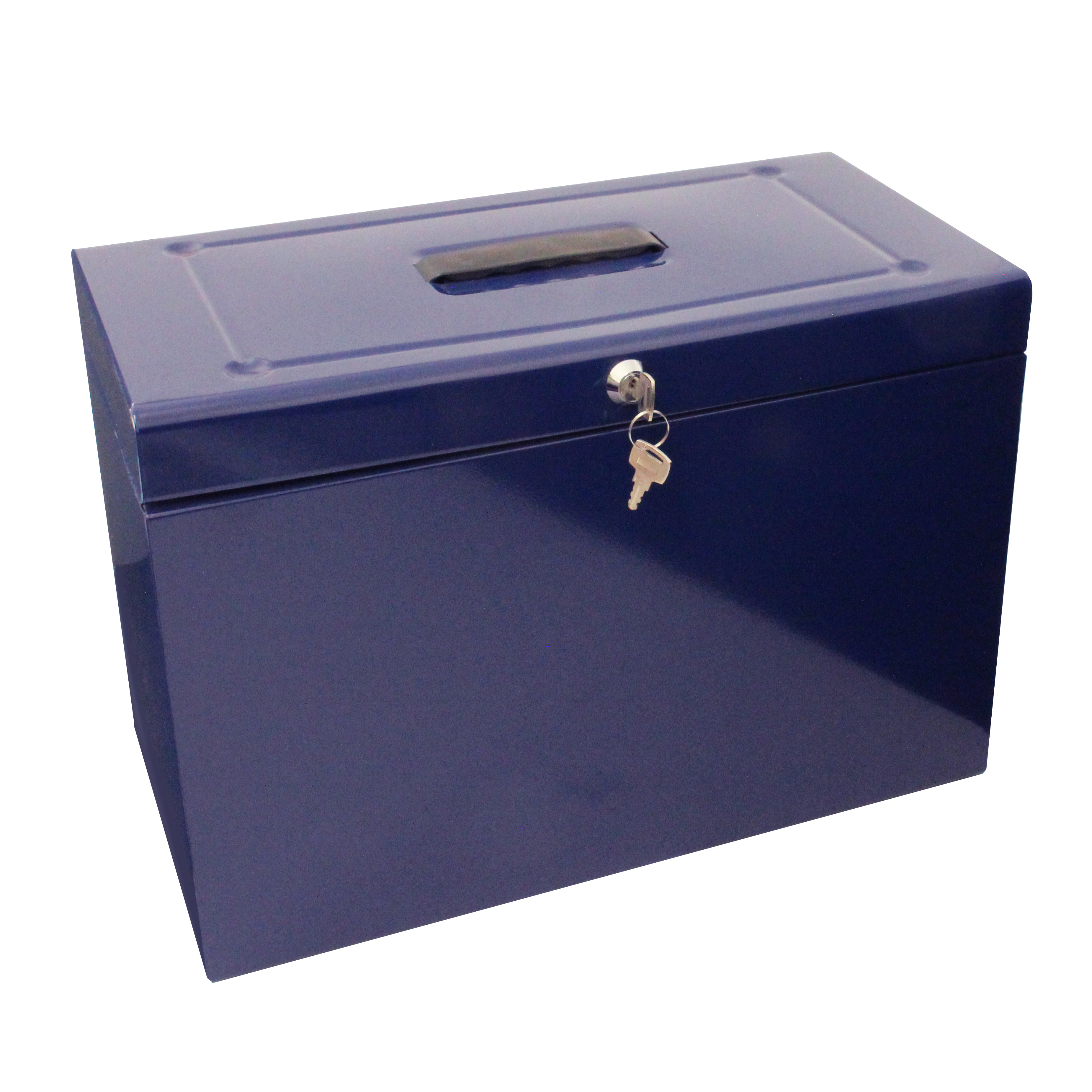 Metal File with 5 Suspension Files 2 Keys and Index Tabs Steel Foolscap Blue