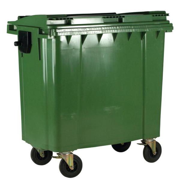 Four Wheeled Bin UV Stabilised Polyethylene 770 Litres 55kg 1350x770x1360mm Green